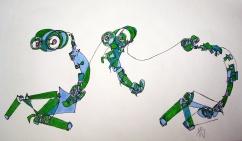 """""""Green Beigns"""" Ink on Bristol 11 x 14 $150"""