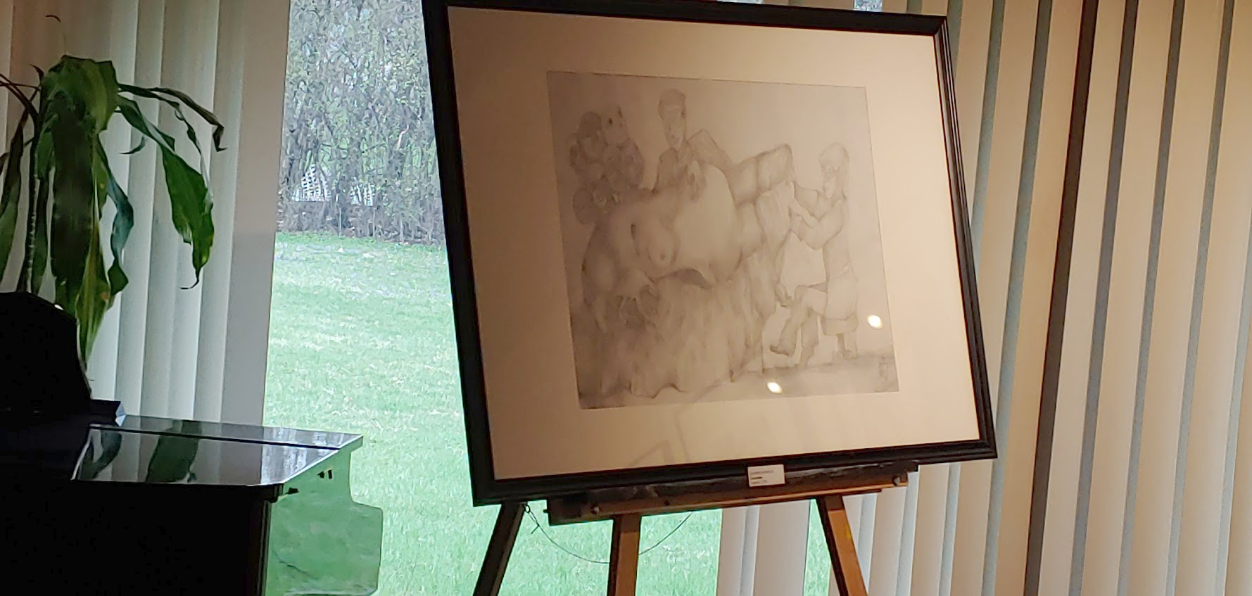 labor on easel